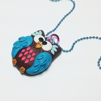 Owl Pendant Necklace. Bird pendant. Polymer Clay pendant. Teen. Tween. Gifts for Her. Spring. Owl Necklace. Pink.