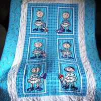 Custom Quilted Funny Babies Baby Boy Quilt