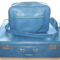 Vintage 60s Pan Am Blue Luggage Set Suitcase & Carry On Bag INVICTA 2 pc Large Size Jet Setter