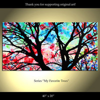 Tree Painting Flowers Original Modern Landscape by ColorinaArt