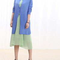 Summer V Collar Chiffon joint long sleeved Thin Prevent bask coat Back Have Tape Decoration