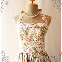 Floral Dress White with Romantic Rose Heaven Vintage Inspired Dress Party Tea Dress Once Upon a Time -Size S-