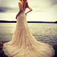 Vintage Deep V-Cut Back Lace Wedding Dress Features illusion Neckline and Satin Sash Wedding Gown