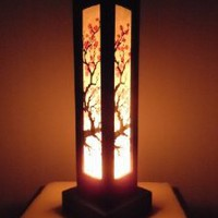Amazon.com: Thai Wood Lamp Handmade Oriental Japanese Red Sakura Cherry Blossom Tree Branch Bedside Table Lights or Floor Home Decor Bedroom Decoration Modern Design: Home & Kitchen