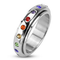 STR-0011 Stainless Steel Mirror Polished Spinner Ring with Rainbow Color Crystals; Comes With Free Gift Box: Jewelry