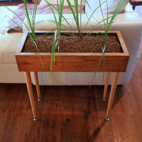 Modern Style Planter Box Table Custom Designed Handmade Furniture with Vintage Reclaimed Wood & Metal Legs