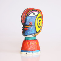 Tribal mask wine bottle stopper