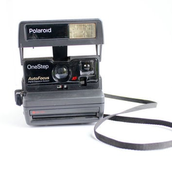 Vintage Polaroid Camera - Black 1980s OneStep AutoFocus 600 Series / Flash Shot