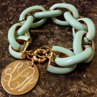 Monogrammed Mint Chain Length Enamel Bracelet | Marley Lilly