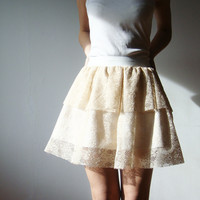 Beige Ivory White Lace and Cotton skirt with white by WhimsyTime