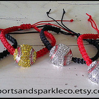 Sports Rhinestone Sparkly Baseball or Softball Woven Bracelet