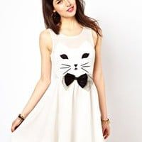 Reverse Skater Dress With Cat Face at asos.com