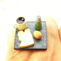 Kawaii Food Ring Coffee Egg Toast Miniature by SouZouCreations