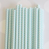 Shop Sweet Lulu - Chevron Paper Straws: Baby Blue