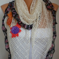 Sequin Flowers Scarf -  scarf shawl -  - Free scarf - Light Yellow - fatwoman