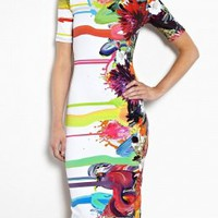 Kay Floral Paintdrip Printed Jersey T-Shirt Dress by Preen