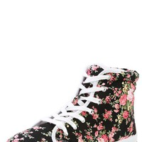 Qupid Maniac05 Black Floral Lace Up Stitching Sneakers and Shop Shoes at MakeMeChic.com
