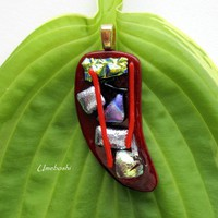 Red Hot Chili Pepper Dichroic Fused Glass Pendant - Handmade