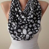 New - Eternity Scarf - Mother's Day Gift - Dalmatians Infinity Scarf -  Black and White  Infinity Scarf -  Chiffon Fabric