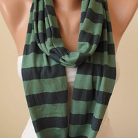 Mother's Day - Dark and Light Green Striped Infinty Scarf  - Circle -  Loop Scarf - Combed Cotton Fabric