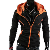 Zephyr - Collared Hoodie (Black & Orange)