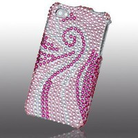 Rhinestones Protector Case for iPhone 4, Swirl Pink & White Full Diamond