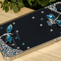 crystal rhinestone flying wings butterfly  Dragonfly iPhone 4 4s 5case cell phone case summer fashion high quality scratch resistant shell
