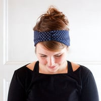Polka dot headband bandana turban headwrap. Stretchy headband in dark navy blue and white glitter polka dots.