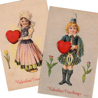 Charming Set of 2 Vintage Valentine Greetings Postcard Early 1910s