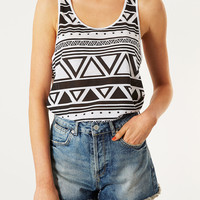 Mono Aztec Vest - Jersey Tops - Clothing - Topshop