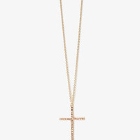 Pressed Rhinestone Cross Necklace