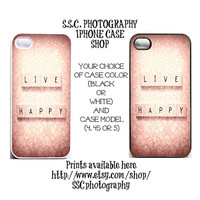 DISCONTINUING 5/6/13 Iphone 5 case. iphone 4 case 4s case. Live Happy. Pink. girly. quote. words. gift for her. pink iphone case. hearts