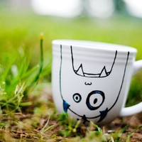 Coffee Mug Tea Cup Teal and Black Monster Hand Painted by betwixxt