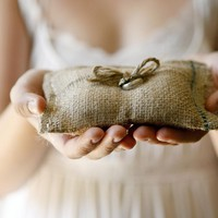 Rustic burlap wedding ring bearer pillow - lolobu