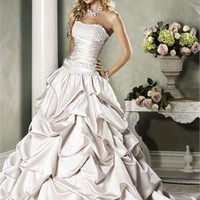 Strapless Beaded Bust Ruffles Taffeta Cathedral Train Wedding Dress WD0219