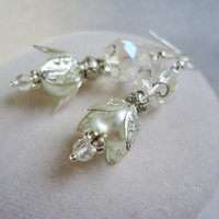White Glass Pearl & Crystal Layered Silver Victorian Style Earrings