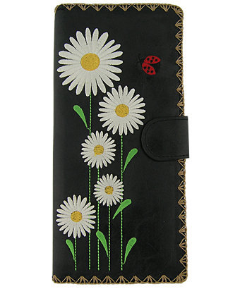 LAVISHY daisy and ladybug vegan leather/imitation leather large embroidered wallet