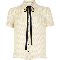 Cream polka dot print dolly blouse - blouses - blouses / shirts - women
