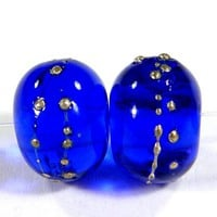 Shiny Intense Blue Handmade Lampwork Glass Beads With Fine Silver SRA