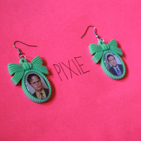 Michael Scott and Dwight Schrute cameo earrings - The Office