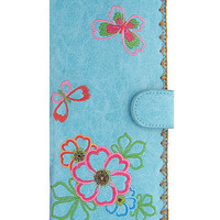 LAVISHY butterfly and flower vegan leather/imitation leather large embroidered wallet