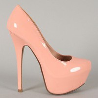 Cheetah-01 Patent Almond Toe Platform Pump