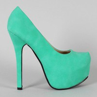 Kari-01 Leatherette Almond Toe Platform Pump
