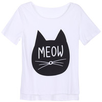 "ROMWE | Asymmetric ""Meow"" White T-shirt, The Latest Street Fashion"