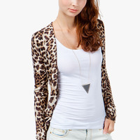 A&#x27;GACI Leopard Print Slouch Pocket Cardigan - New Arrivals