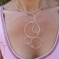Sterling Silver Wirewrapped Necklace, Sterling Silver Circles
