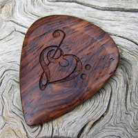 Honduran Rosewood Guitar Pick - 2 Sided Design - Handmade Laser Engraved Premium Guitar Pick