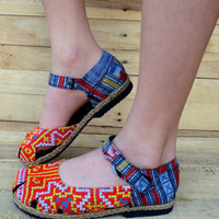 Tangerine Orange Ethnic Hmong Embroidery Mary Jane Espadrille Vegan Womens Shoe