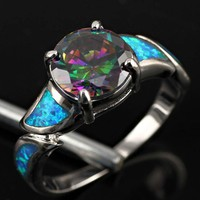 Rainbow Topaz & Blue Fire Opal Women Gemstone Jewelry Silver Ring Size 6 OR2782