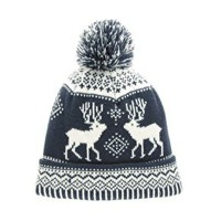 ASOS Navy Stag Bobble Beanie at asos.com